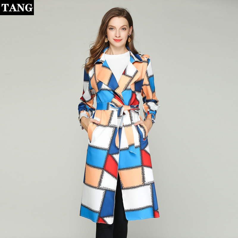 2019 Autumn Winter Casual Double Breasted Simple Classic Plaid Long   Trench   coat Women Plus Size Windbreaker Chic Outerwear