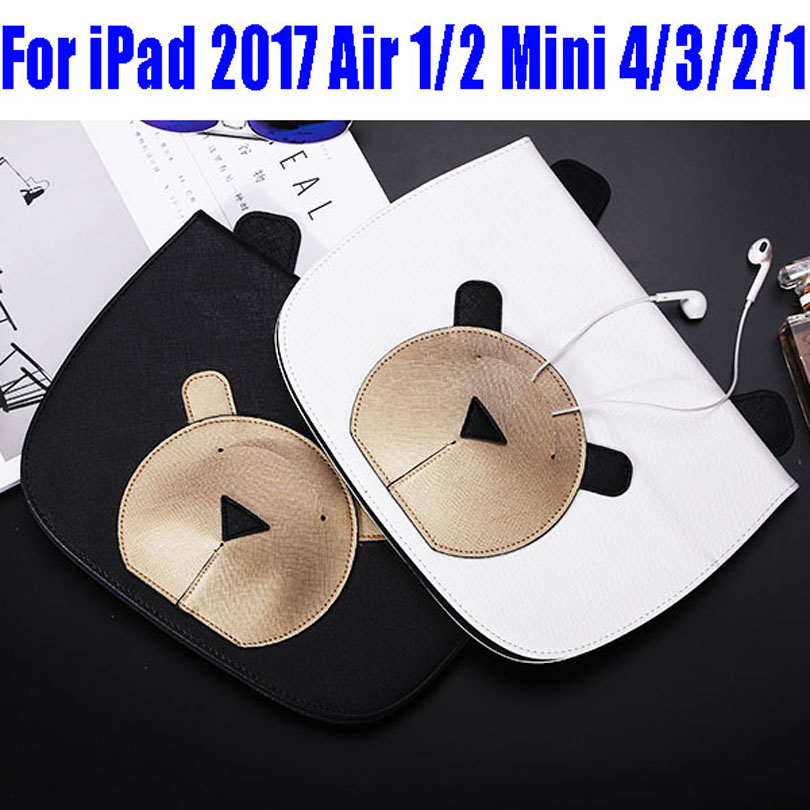 Fashion Lovely Bear PU Leather Smart Case For IPad 2017 Air/Air2 Mini 4/3/2/1 Cover for New iPad 9.7 ID706 for ipad air 2 air 1 case for apple ipad mini 1 2 3 smart cover pu leather glitter silicone soft back case for ipad air coque