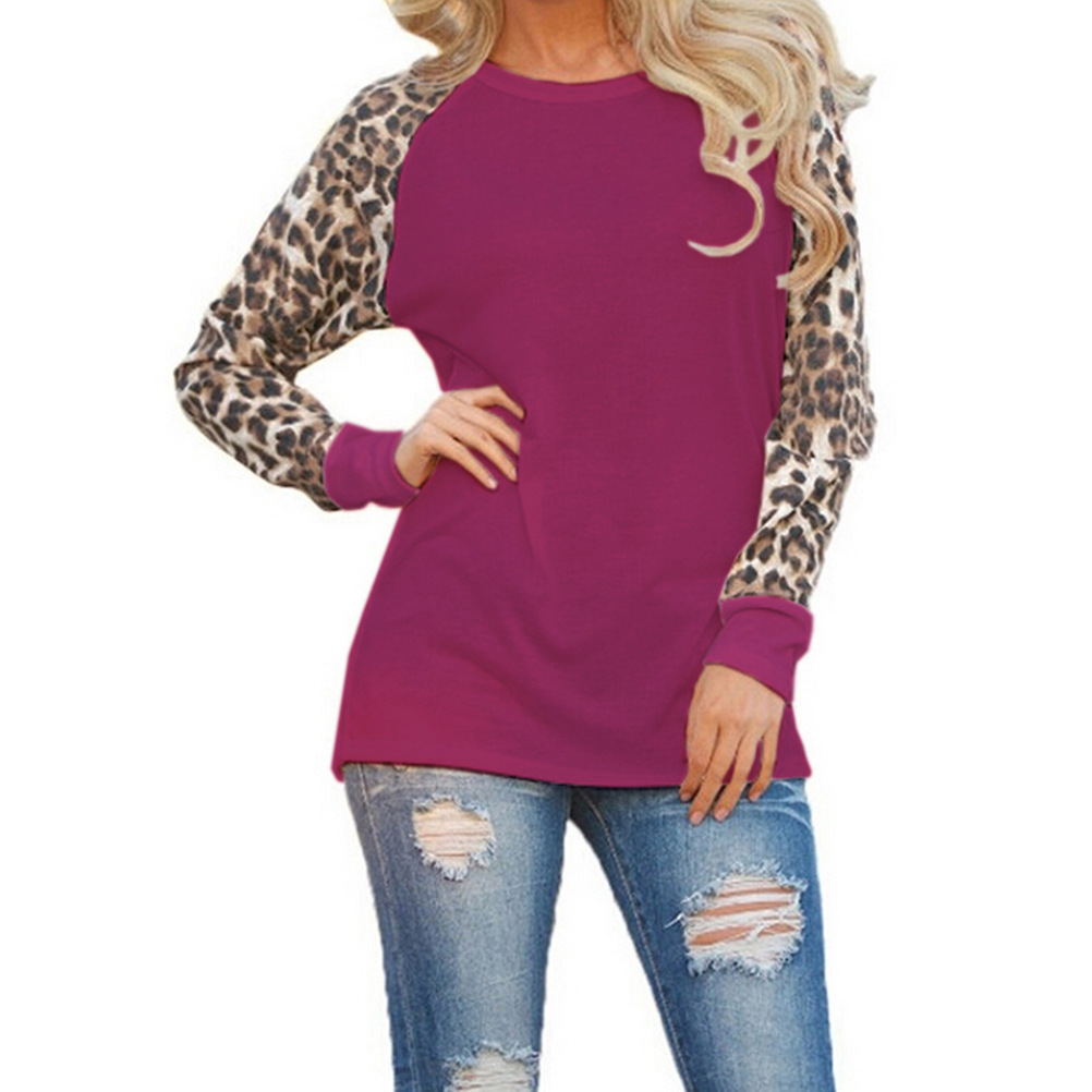 new women leopard print casual baseball tee loose long. Black Bedroom Furniture Sets. Home Design Ideas