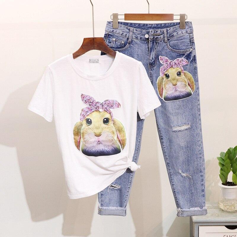 Robe Deux Femme Coton Manches Cent Printemps Trou D'été 2019 Animé Costume En Jeans Ensembles Courtes Dessin Lapin noir Nouveau Pièces White rose shirt Neuf T H5qFUOqxw
