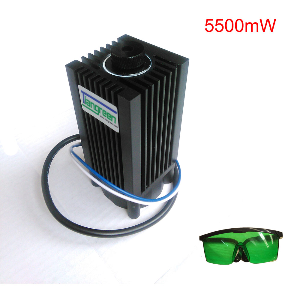 Send Glasses as gift 5500mW Blue Laser Module High power 450nm 5.5W Laser Engraving Machine parts cutter TTL Laser Tube 2w blue laser head 450nm diy laser machine parts laser diode laser tube 2000mw ttl