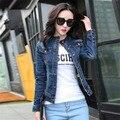 Mujeres delgado Denim Jacket 2016 primavera moda Casual cuello alto chaqueta de Jean mujer Denim lavado capa para mujer Outwear ropa