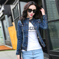 Women Slim Denim Jacket 2016 Spring Fashion Casual Stand Collar Jean Jacket Woman Wash Denim Female Coat Outwear Women Clothing