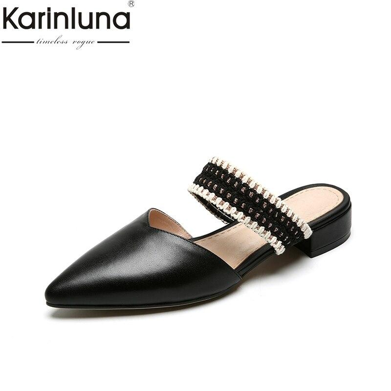 KarinLuna Ins Style Genuine Leather Pointed Toe Elegant Summer womens Flats Mature Lady Classics womens ShoesKarinLuna Ins Style Genuine Leather Pointed Toe Elegant Summer womens Flats Mature Lady Classics womens Shoes