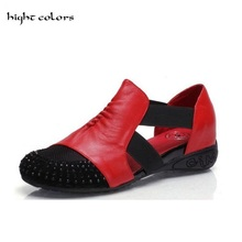 hight colors Plus Size 34-41 Women Fashion 2017 Summer Hollow Out Flats Shoes Crystal Slip-on Comfort Casual Female Loafers