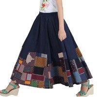 Cotton Linen Floral Print A Line Long Skirt Vintage Women S Clothing Oversized Floor Length Bohemian