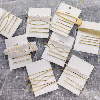 3Pcs/set Pearl Metal Geometric Hairpins Simple Hair Clips Bobby Pin Barrette Accessories For Women Girls Gold Hairgrip Headdress 3 4 5pcs pearl hair clips women hairpin girls hairpins barrette bobby pin hairgrip hair accessories dropship ins hot sell new