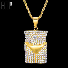 Купить с кэшбэком HIP Hop Full Rhinestone Bling Iced Out Sexy Underwear Style Necklace 316L Stainless Steel Necklaces & Pendants for Men Jewelry