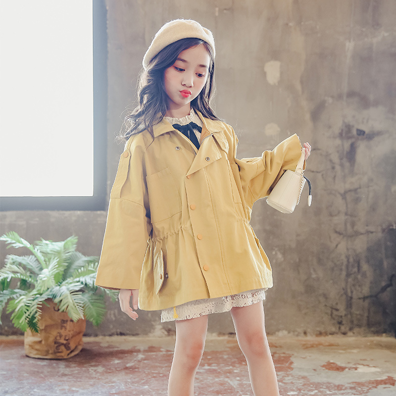 Trench Coat Girl Fall Clothes 2018 Long Sleeve Turn Down Collar Windbreaker Costume Big Girls Kids Outwear Solid Clothing 10 12 цена