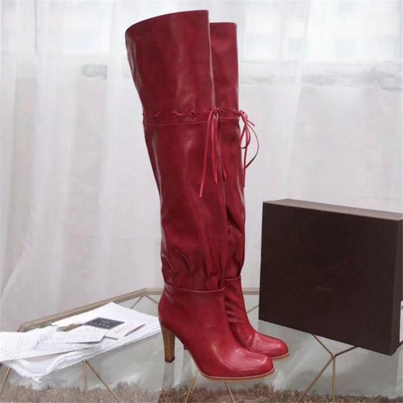 N Sexy Bout 002 À Genou 001 De Le Chaussures Talons Cuir Rond F Sur Hauts Jack En Bottes Hiver Véritable Femmes Botte dnOgTq
