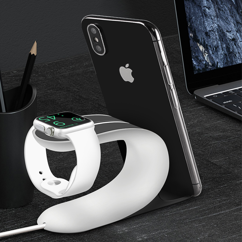 2 in 1 Universal Charging <font><b>Dock</b></font> Holder for Apple Watch 1 2 3 4 5 <font><b>iPhone</b></font> X Xr Xs 8 7 6S Plus iWatch Charging Stand Charger <font><b>Station</b></font> image