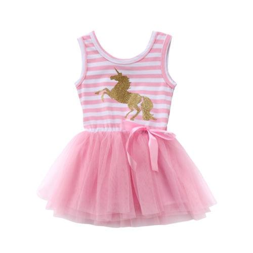 Kid Princess Baby Girl Dress Sleeveless Striped Unicorn Bow Pink Tulle Party Wedding Tutu  Dresses