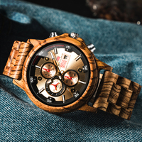 Fashion Wooden Men Watch Natural Zebra Wood Wristwatch with Date and Multiple Time Zone reloj hombre Men's Gift Watches W K01
