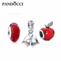 PANDOCCI 100% 925 Sterling Silver Red Apple Charm Cut Face Glass Beads Wind Chime Charm Surprise Set Women Luxury Products