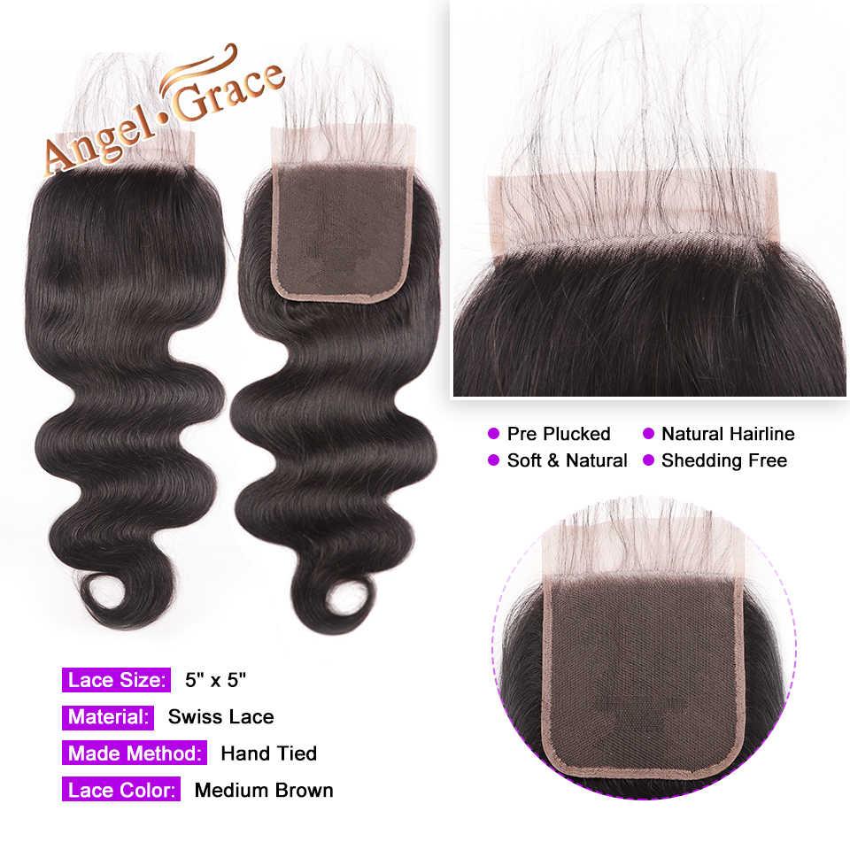 5x5 волнистые кружевные накладки, свободная средняя часть, бразильские человеческие волосы, натуральные цветные волосы Реми, кружевная застежка с детскими волосами Angel Grace