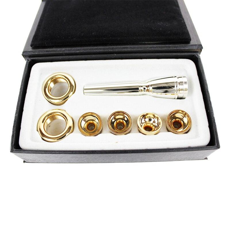 6 PZ/LOTTO 2C 3C 2B 3B Bocchino Per Tromba in Sib ottone Placcato Oro Un Multi-Purpose T Adattatore Professionale Oro Lacquer Ugello