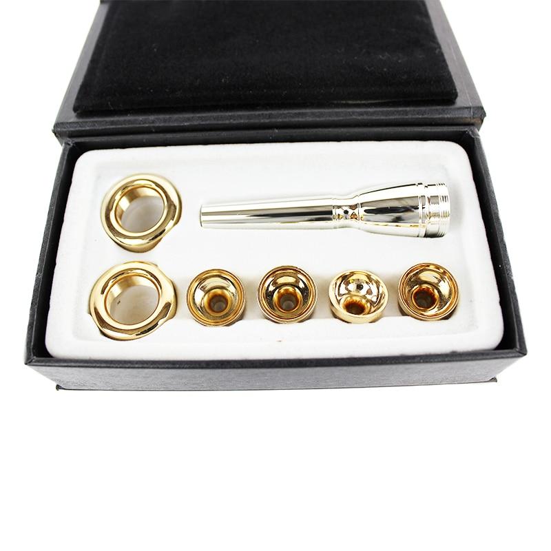 6 unids/lote 2C 3C 2B 3B boquilla para trompeta Bb chapados en oro latón Multi-propósito T adaptador de profesional laca oro boquilla