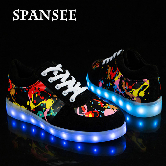 Lowest Price New Size 30-43 Kids Luminous Sneakers for Girls Boys Women Shoes with Light Led Shoes with Flower Glowing Shoes
