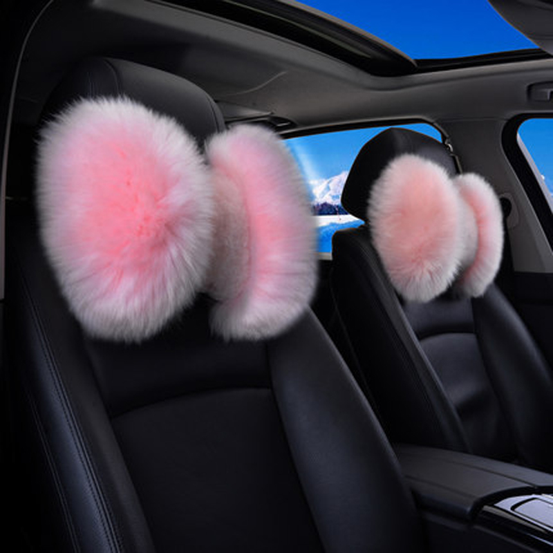 Winter Pure Wool Car Headrest Neck Pillow Warm Soft Fur Auto Bone Seat Rest Head Support Cushion For BMW Toyota Corolla Prado VW cute 1pair 33cm funny stitch lovely plush car soft headrest vehicle bone rest neck pillow stuffed toy