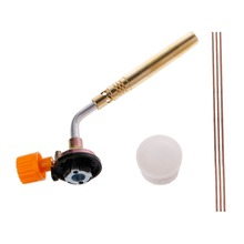 цена на Flamethrower Burner Butane Gas Blow Torch Hand Ignition Camping Welding BBQ Tool+Rods+Flux Welding Torches