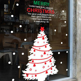 DCTAL Christmas tree glass window wall sticker decal home decor shop decoration X mas stickers xmas104