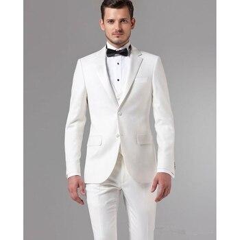 Popular Ivory Groom Notched lapel men suit Tuxedos Groomsmen Men's Wedding business dinner mens Suits ( jacket+Pants+vest+tie)