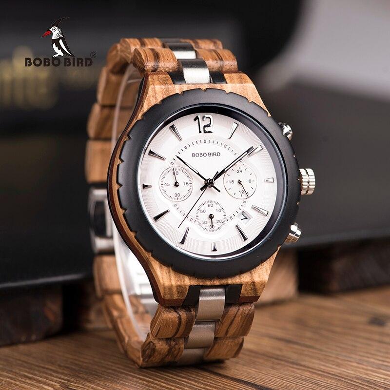 BOBO PÁSSARO Relógio de Madeira Dos Homens de Luxo Relógios Elegantes Relógios Cronógrafo de Quartzo Militar Grande Presente dos homens relogio masculino W-R22