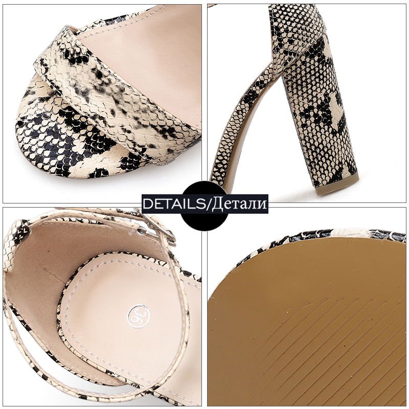 Ladies Spring alti Albicocca Open Toe Fashion 2019 Shoes Sandali Print donna Strap Thick Snake Tacchi Wetkiss Anklet Donna wq7Svv
