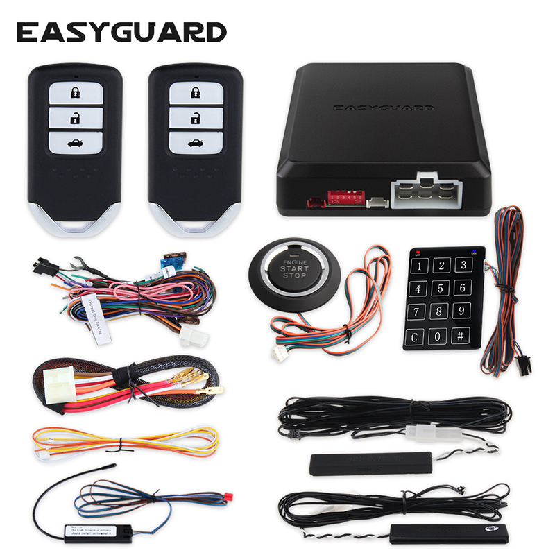 EASYGUARD kit d'alarme voiture intelligente PKE psssive système d'entrée sans clé avec démarrage à distance du moteur bouton poussoir démarrage tactile mot de passe entrée
