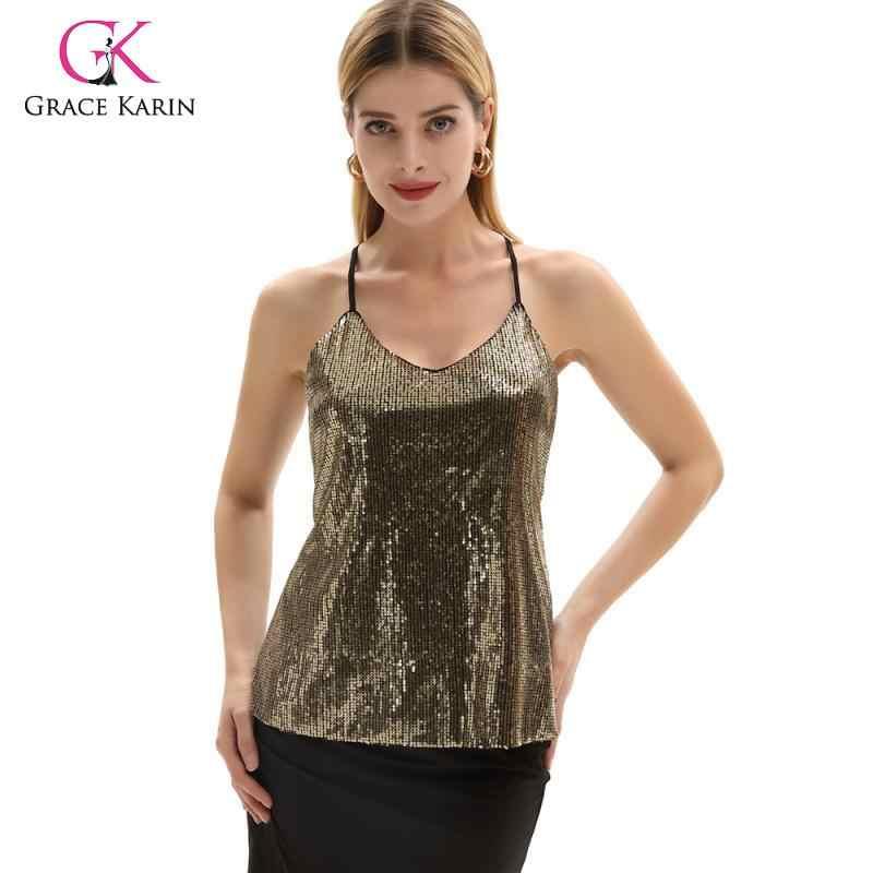 Grace Karin بلوزة مثيرة للنساء على شكل حرف v متألقة ترتر بلوزة صيفية بحمالات رفيعة قميص قصير للحفلات