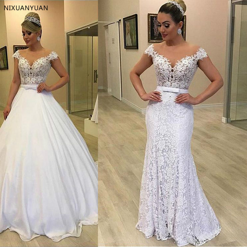 Modern Tulle & Lace Jewel Neckline 2In 1 Wedding Dresses With Detachable Skirt Bowknot Two Pieces Lace Bridal Dress