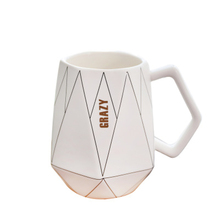 Creative Black And White Polygon Geometric Ceramic Mug With Handgrip Home Milk Coffee Breakfast Cup For Friend Family Gift