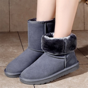 Image 3 - JIANBUDAN Cowhide Leather Warm Snow Boots Womens Winter Waterproof Cotton Boots Women plush snow shoes Fashion boots New 35 40