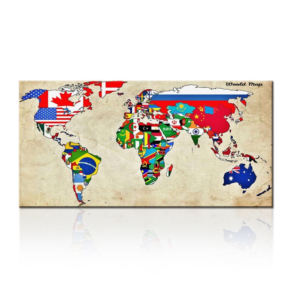 ᗕArte de la pared de gran tamaño mundo Mapas pintura en lienzo ...