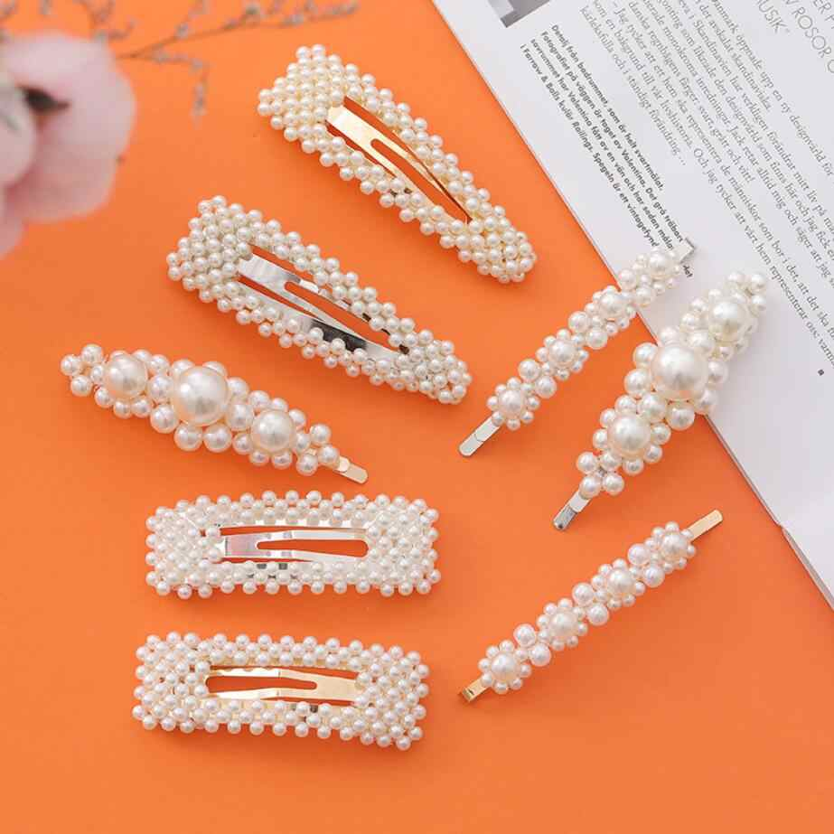 Fashion handmade Gold Silver 1PC Pearl Imitation Hair Clip Snap Barrette Stick Hairpin Hair Styling Accessories For Women Girls