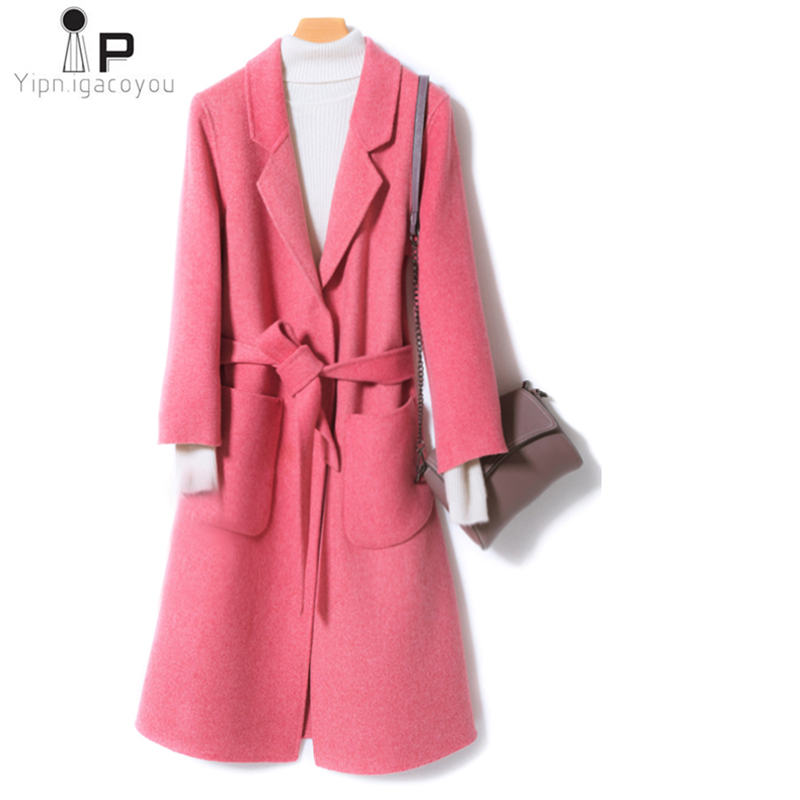 2019 Spring Fashion Double Faced Cashmere Coat Female Autumn Casual Slim Thicken Warm Wool Jacket 100% Pure Woolen Coats Women