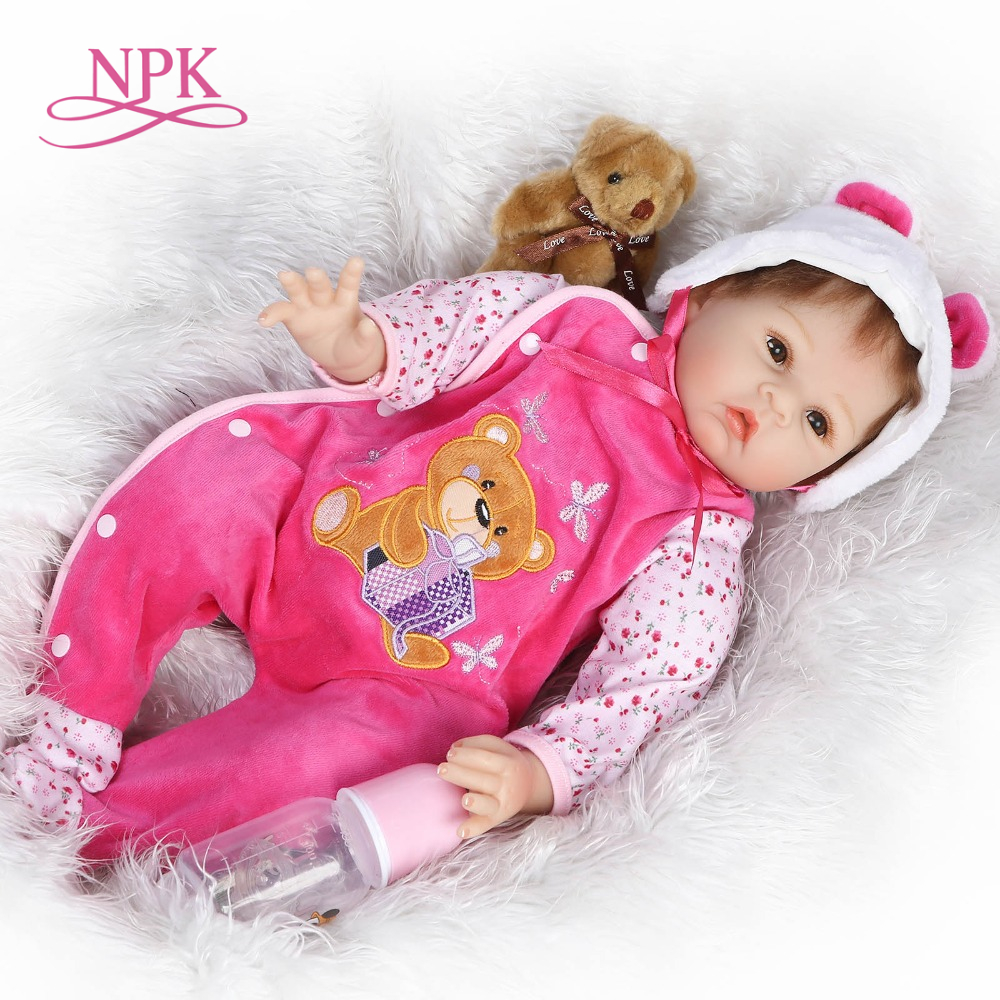 NPK 22inch lifelike real reborn baby doll silicone vinyl soft real touch sweet sleeping baby doll good for baby girls