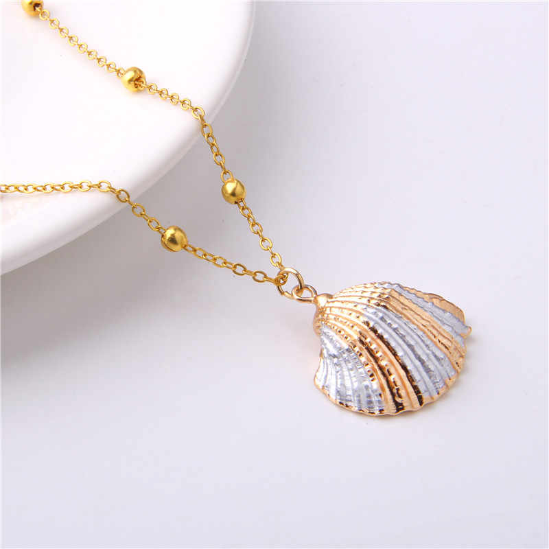 Natural Colorful Conch Shell Necklaces For Women Girl Bohemian 2019 Golden Chains Necklace Jewelry Simple Seashell Necklace