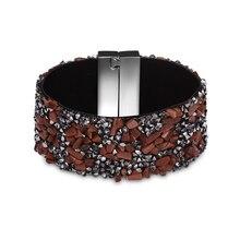 New Fashion Bohemian Colorful Beads Rhinestone Wide Magnetic Leather bracelet&bangle Wrap pulseira Charm Women Handmade Jewelry