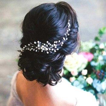 Broche à cheveux pour mariée de style branche perlée