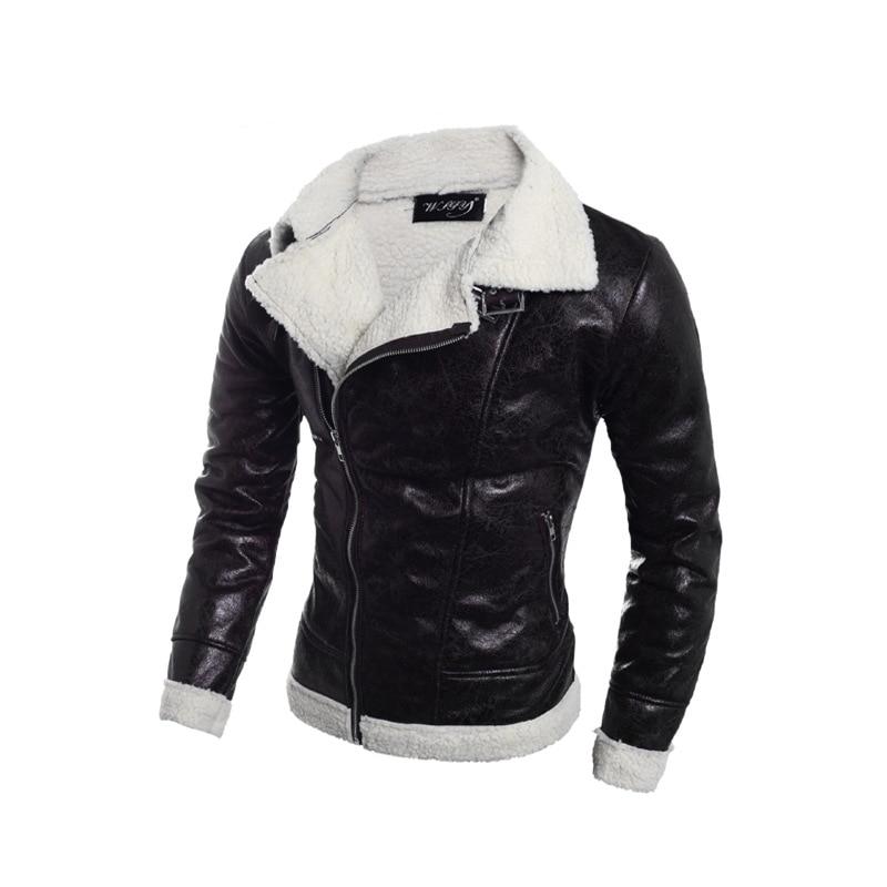 7b193e50d6a CVETO Brand Leather Jacket Faux Suede Jacket Men Winter Leather Jacket Turn-down  Collar Thick Lining Wool Warm Jacket 0utwears
