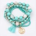 Trendy Bohemian Multilayered Beads Bracelets Women Charm Multi-Element Pendants Tassel Bracelets femmes pulseras mujer Jewelry