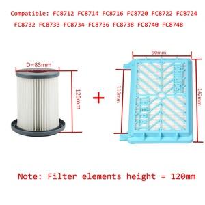 Image 1 - 2 Stuks Stofzuiger Accessoires Hepa Filters + 12 Cm Filter Element Voor Philips FC8712 FC8714 FC8716 FC8720 FC8722 Hepa filter