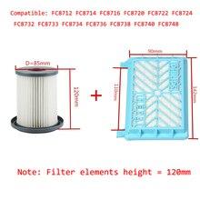 2 pçs acessórios de aspirador hepa filtros + 12cm elemento filtro para philips fc8712 fc8714 fc8716 fc8720 fc8722 filtro hepa