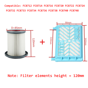 Image 1 - 2pcs Vacuum Cleaner Accessories HEPA Filters+12cm Filter Element For Philips FC8712 FC8714 FC8716 FC8720 FC8722 HEPA Filter