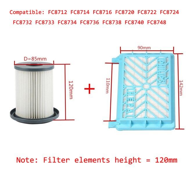 2pcs Vacuum Cleaner Accessories HEPA Filters+12cm Filter Element For Philips FC8712 FC8714 FC8716 FC8720 FC8722 HEPA Filter