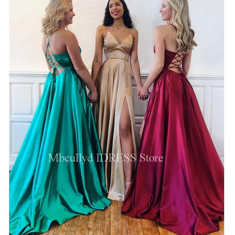 Sexy Burgundy   Prom     Dresses   2019 Green Red Front Split Long Party Evening Gowns With Cross Back vestidos de fiesta largos elega