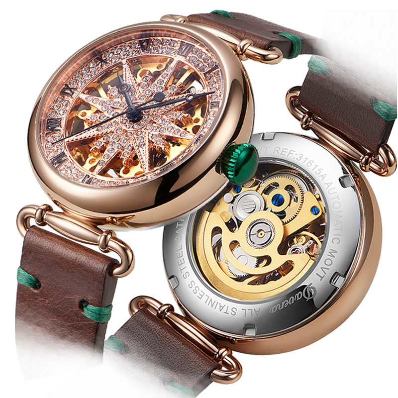 Hollow Automatic Mechanical Watch Female Rose Gold Watches Woman Watch Waterproof Octagonal Star Full Diamond Clock Leather BeltHollow Automatic Mechanical Watch Female Rose Gold Watches Woman Watch Waterproof Octagonal Star Full Diamond Clock Leather Belt
