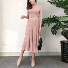 2 piece outfits for women retro bright silk high neck sweater long sleeve pullover + waist pleated skirt suit