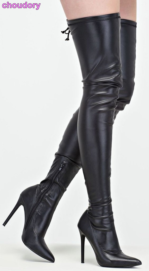 Celebrity Black Leather Pointy Toe Boots Over-the-Knee Dress Boots Zipped Stiletto Heels Bandage Boots Dropship Fall Footwear